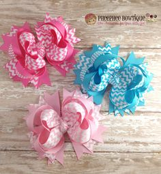 Set of 3 Chevron Hair Bows, OTT,  Pink, Turquoise, Hot Pink, Baby Headband, Infant Headband, Newborn Headband, School Bow, Birthday Bow, - pinned by pin4etsy.com
