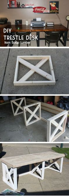 diy holz Check out the tutorial how to build a DIY trestle desk from scrap wood Diy Bench, Diy Desk, Porch Bench, Pallet Furniture, Furniture Projects, Pallet Chair, Repurposed Furniture, Diy Wood Projects, Wood Crafts