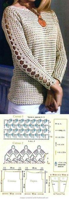 Ажурный пуловер крючком. - ВЯЗ