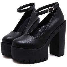 Platform Heeled Sandals (145 RON) ❤ liked on Polyvore featuring shoes, sandals, heels, black, platform sandals, black shoes, heel platform shoes, black heeled sandals and black platform sandals