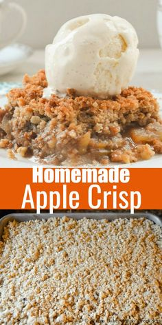 Homemade Apple Crisp recipe with tart apples, lots of cinnamon, and a delicious oatmeal crisp topping! It's the ultimate Fall dessert recipe and a must for Thanksgiving from Serena Bakes Simply From Scratch. Fall Dessert Recipes, Easy Desserts, Fall Recipes, Delicious Desserts, Christmas Recipes, Dessert Ideas, Holiday Recipes, Breakfast Recipes, Vegan Recipes