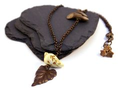 Autumn Bird  Rustic Necklace. Boho by GillsHandmadeJewels on Etsy, £18.00. poly clay handmade bead is by Leah Curtis