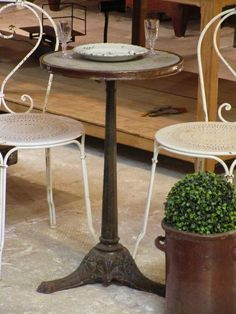 Parisian marble-top bistro table