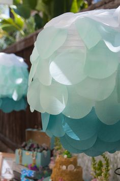 Pretty decor at a Mermaid Birthday Party!  See more party ideas at CatchMyParty.com!