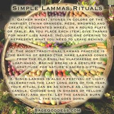 Simple Lammas Rituals #Lammas #Celtic #harvest #ritual