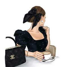 Black Girl Art, Art Girl, Cute Cartoon Girl, Cute Art Styles, Instagram Artist, Illustration Girl, Coco Chanel, Fashion Sketches, Wearing Black