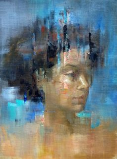 """""""Pigeon"""" - Francisco Malonzo (raeburn10025), oil on linen board. National Academy of Design. {contemporary figurative #expressionist art female head abstraction woman face portrait smudged texture grunge painting}"""