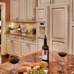 Crema Bordeaux Granite With White Cabinets Google Search Glazed Kitchen