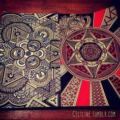 FIRE & ICE mandala and zentangle art illustration.
