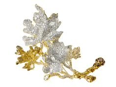 Four Seasons Collection Autumn Maple Leaves brooch with yellow and white diamonds by Cindy Chao.