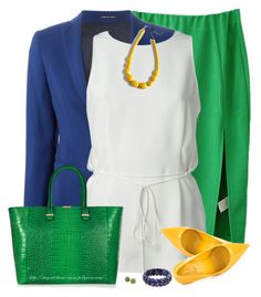 """""""Green, Blue & Yellow"""" by stay-at-home-mom ❤ liked on Polyvore featuring Tagliatore, Alexander Wang, Victoria Beckham, ALDO, NOVICA and Tiffany & Co."""