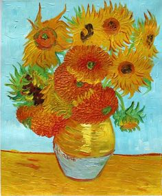 Vase with Twelve Sunflowers Hand Painted Reproduction, Gallery Wrapped, Vincent van Gogh Hand-Painted on Canvas for Sale, $47.99 | 1st Art