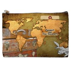 80235624f09 Visa and Passport Bag the document bag world map by NirvanaRoad Vintage  Luggage, Vintage Maps