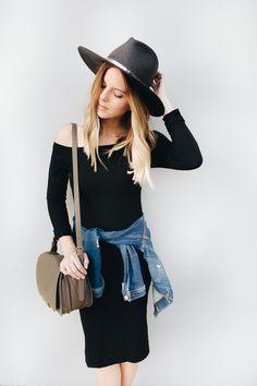 Casual Black Bardot Dress and Hat | www.TakeAim.nu
