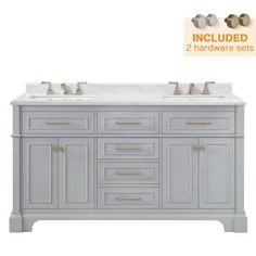 Home Decorators Collection Melpark 60 in. W x 22 in. D Bath Vanity in Dove Grey with a Cultured Marble Vanity Top in White with White Sink Melpark - The Home Depot Granite Vanity Tops, Marble Vanity Tops, Marble Top, Gray Vanity, White Vanity Bathroom, Master Bathroom, Home Depot Bathroom, Bathroom Rugs, Bathroom Ideas