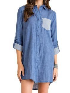 Entro Women's Striped Pocket Button Down Denim Dress Blue (Medium) -- Awesome products selected by Anna Churchill