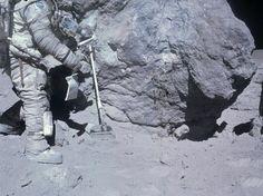 Apollo 16 astronaut Charlie Duke collects lunar samples during EVA on April 23, 1972 (NASA)