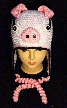 Crochet Bryson the Pig Earflap Hat