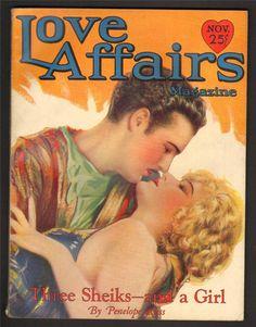 "Kittyinva: 1928 ""Love Affair"" magazine cover for ""Three Sheiks and a Girl""!"
