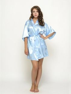 Gorgeous and beautiful satin robes , a perfect gift for you and your girls for the wedding day !Each robe has an outer belt to make the robe adjustable in size. Bridesmaid Robes, Looking Stunning, Your Girl, Light Blue, Shirt Dress, Casual, Sky, Dresses, Wedding