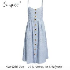 Simplee Elegant striped women summer plus size dress Buttons strap cotton midi dress Casual female ladies beach vestidos 2019 Casual Cotton Dress, Casual Summer Dresses, Cotton Style, Cotton Dresses, Dress Casual, Mom And Baby Outfits, Matching Family Outfits, Summer Romper, Dress Summer