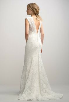 Watters Amile Lace V-neck Fit & Flare Wedding Dress - Nearly Newlywed Wedding Dress Shop