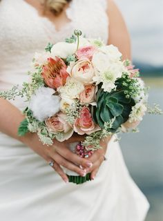 Wedding bouquet by DownTheaisleByMaria.com -  See more of the wedding here: http://www.StyleMePretty.com/2014/03/25/rusticcolorado-ranch-wedding/ #SMP - Photography: BrettHeidebrecht.com -
