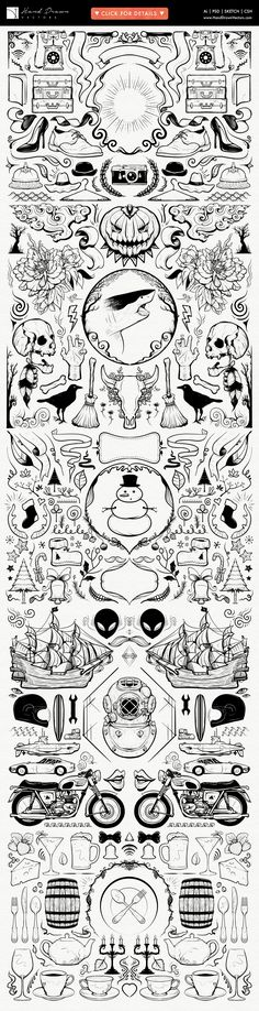 Get this huge set of hand drawn vector illustrations! The friendly people of Hand Drawn Vectors have put together this huge set of vector illustrations in Alien Tattoo, Halloween Vector, Doodles, Retro Vector, Hand Sketch, Doodle Drawings, How To Draw Hands, Typography, Clip Art