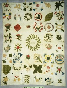 "Appliqued Sampler, Crib Quilt circa 1850 - Hand Piecing, Hand Applique, Other embellishment technique, petit point Broderie Perse - Inscription:  ""Joseph & Julia Ashbrook"", ""Samuel C. Ashbrook"""