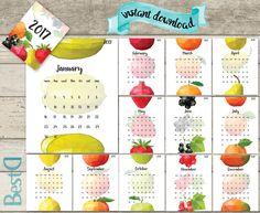 2017 kitchen printable calendar,kitchen polygonal fruit calendar,13 pages monthly calendar,Instant Download 2017 calendar,fruits calendar by BestDesignland on Etsy https://www.etsy.com/listing/472468308/2017-kitchen-printable-calendarkitchen