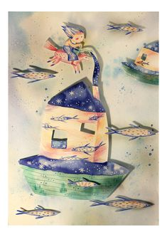 Items similar to Floating house with fishes illustration Size Original Art Print on Etsy Fish Illustration, Floating House, A5, Animation, Unique Jewelry, Handmade Gifts, The Originals, Painting, Etsy