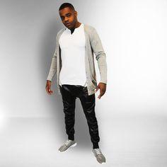 Long V neck vest €14,99 Zipper T white €12,99 Sweatpants leather look €24,99 Runner shoes €24,99 http://mymenfashion.com/sweatpants-leather-look.html