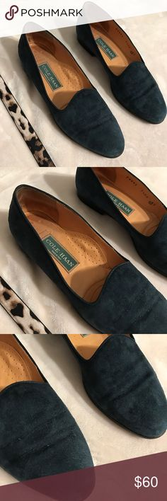 Cole Haan teal suede loafers  They are so perfect  some normal wear on the suede (see close up pic). Pretty dark teal color! Cole Haan Shoes Flats & Loafers