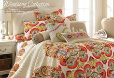 You'll be instantly enamored by this Levtex Home Windsong Quilt Set. Featuring a classic cream background and a unique red and orange print, this reversible quilt set will be a great addition to any bedroom. Decor, Master Bedroom, Bedding Sets, Bed, Bedding Shop, Home Decor, Bed Bath And Beyond, Bedding Collections, Levtex