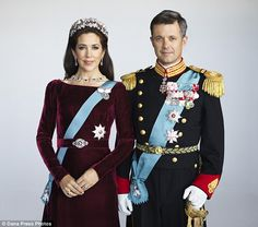 The royal couple: Crown Princess Mary and her husband Crown Prince Frederik pose for a new portrait Sept 2015