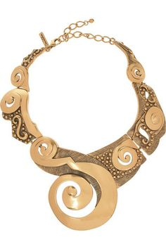 Oscar De La Renta 22-Karat Gold-Plated Collar Necklace Profile Photo