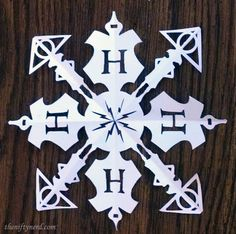 Paper Harry Potter Snowflake with Printable Template Pattern