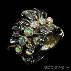 Handmade fine Art Natural Opal 925 Sterling Silver Ring Size 7.75/R27183 #APBJewelry #Ring