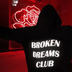 grunge red aesthetic neon hoodie broken dreams club