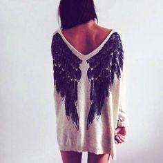 Fashion loose wings t-shirt BB918GE