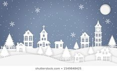 Similar Images, Stock Photos & Vectors of Merry Christmas and Happy New Year. Illustration of Santa Claus on the sky coming to City ,paper art and digital craft style - 522579127