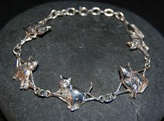 Sterling Silver Vintage Multi Kitty Linked Bold Bracelet #BKC-KBRCT19 by BadKittyCrafts on Etsy