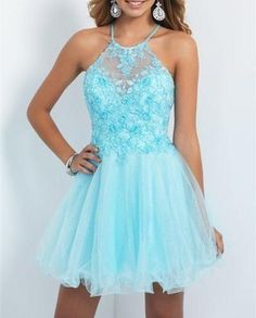 2015 Hot Sale Blush Backless Homecoming Dress, Lace Beaded Spaghetti Prom Dress,Tulle A Line Short Graduation Dress, Light Sky Blue Homecoming Dress