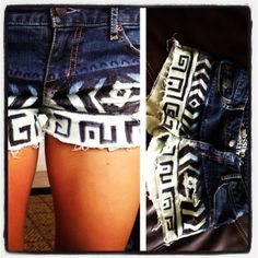 DIY boho shorts, cut an old pair of jeans, dip dyed for about 15-20 min, washed them, dried n then drew design... Easy!