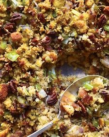 This stuffing is brimming with traditional holiday flavors, including leeks, herbs, and pecans. We used our Honey Cornbread recipe but left off the honey topping. Store-bought cornbread also works well.