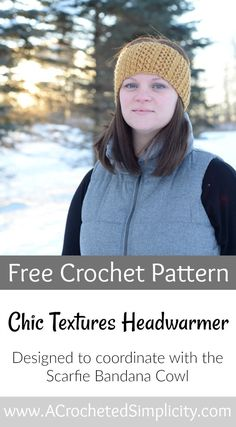 Free Crochet Pattern - Chic Textures Headwarmer - A Crocheted Simplicity Crochet Headband Free, Crochet Beanie Pattern, Headband Pattern, Easy Crochet, Crochet Hooks, Free Crochet, Crochet Ideas, Crochet Stitches, Crochet Projects