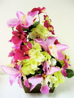 Spring/Summer Silk Floral Arrangement -Tropical Mixed Pink and Fuschia Orchids and Lime Green Hydrangea