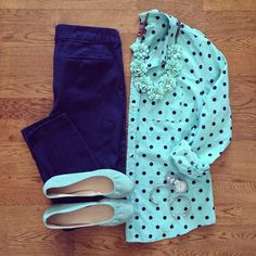 Como usar Mint Polka Dot Top, Old Navy Pixie Pants, Mint Flats Business Casual Outfits, Professional Outfits, Stylish Outfits, Fall Outfits, Summer Outfits, Cute Outfits, Old Navy Outfits, Office Fashion, Work Fashion