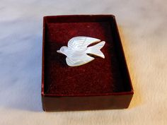 Vintage Mother of Pearl White Dove Brooch  Pin   1960 s  Peace Statement by GemstoneCowboy on Etsy