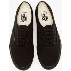 Vans Authentic in Black/Black ($45) ❤ liked on Polyvore featuring shoes, sneakers, vans, laced sneakers, laced shoes, lacing sneakers, black trainers and black lace up shoes